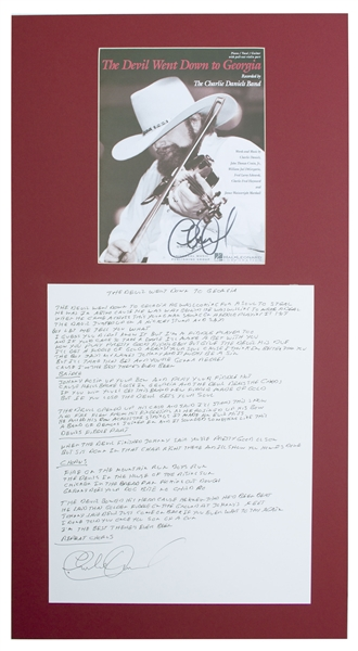 Charlie Daniels Handwritten & Signed Lyrics for ''The Devil Went Down to Georgia'' -- Lyrics Measures 14'' x 17''
