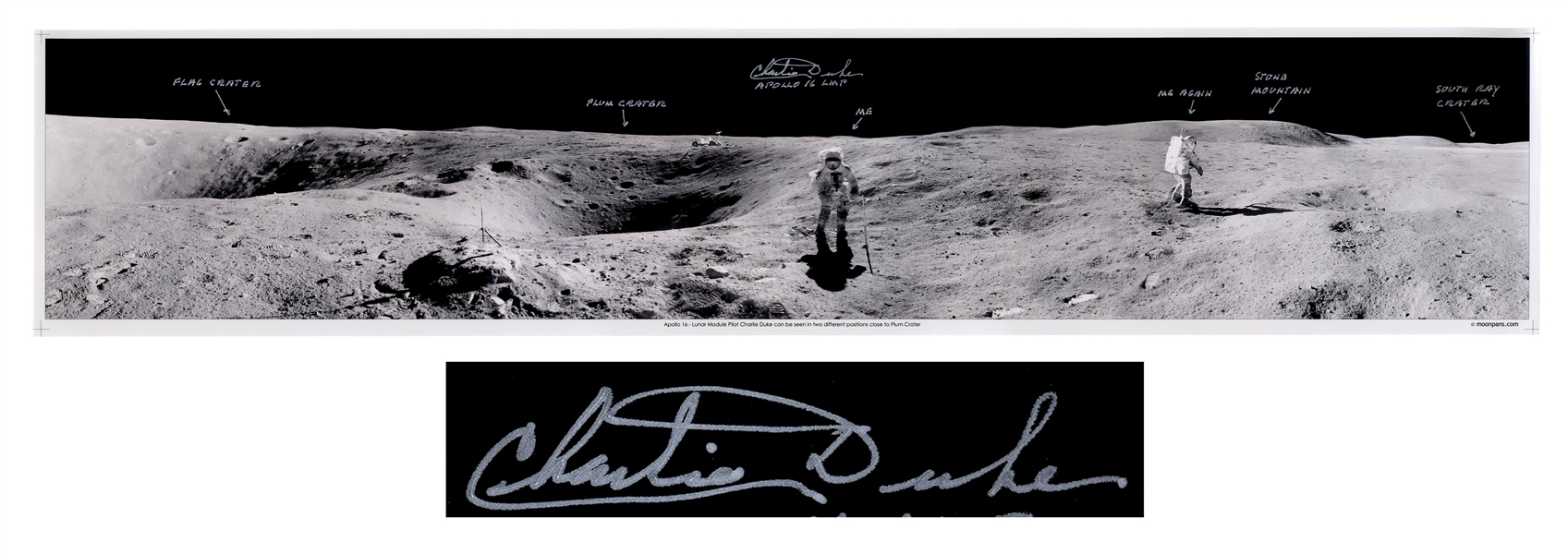Charlie Duke Signed 40'' Panoramic Photo of the Lunar Surface During the Apollo 16 Mission