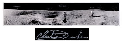 Charlie Duke Signed 40 Panoramic Photo of the Lunar Surface During the Apollo 16 Mission
