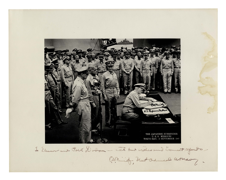 Admiral Chester Nimitz 14'' x 11'' Signed Photo of the Japanese Surrender