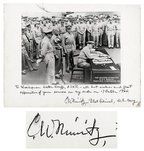 Admiral Chester Nimitz 12'' x 9'' Signed Photo of the Japanese Surrender