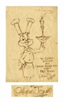 Chuck Jones Signed Drawing of Bugs Bunny -- Measures 11.5 x 17