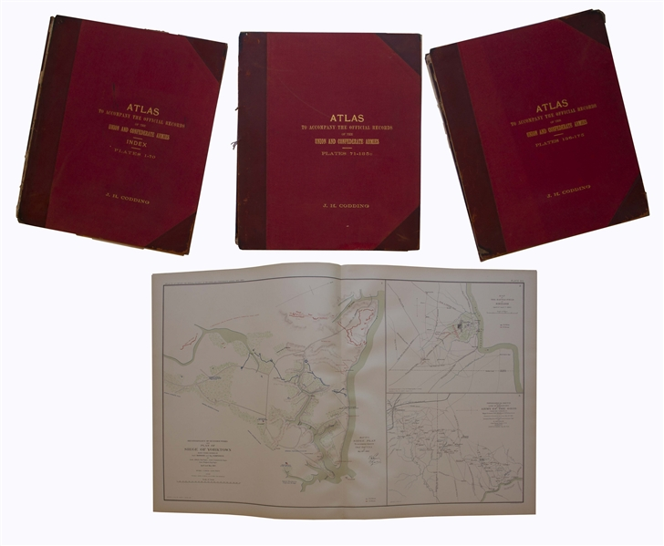 Essential Civil War Reference, the ''Atlas to Accompany the Official Records'' With All 175 Double-Page Plates, in Original Bindings