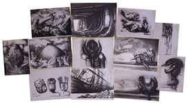 H.R. Giger Alien Artwork -- Set of 12 Photos With Several Unique Shots of the Alien Creature