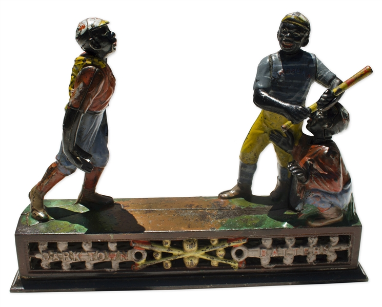 ''Dark Town Battery'' Cast Iron 19th Century Mechanical Bank -- Fully Functioning