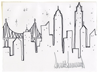 Donald Trump Signed Drawing of the New York City Skyline in Winter -- Rare Original Artwork by the President