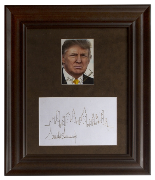 Donald Trump Signed Drawing of the New York City Skyline -- With Additional Signed Photo of Trump, Who Writes, ''THINK BIG!''