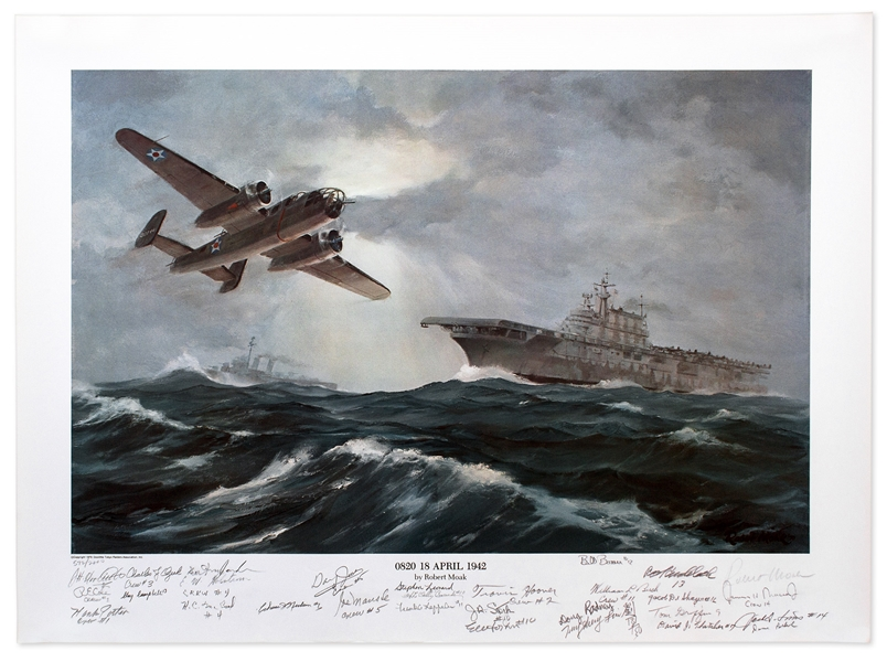 Doolittle's Raiders Signed Limited Edition Artwork -- Signed by General James Doolittle & 27 of His Raiders