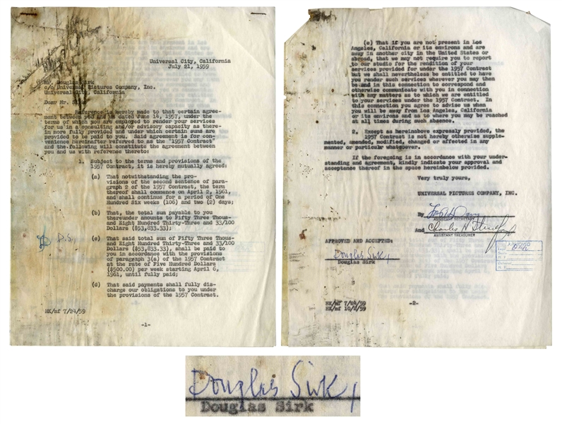Director Douglas Sirk Contract Signed With Universal Pictures -- 1959 Contract Shortly After ''Imitation of Life'' Was Released