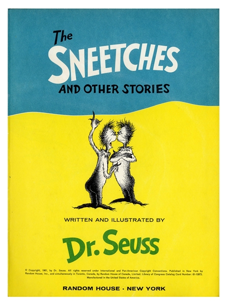 Dr. Seuss Signed ''The Sneetches and Other Stories'' First Edition, First Printing