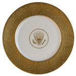 Dwight Eisenhower White House Service Plate Made for State Dinners -- Gold Coin With Raised Medallion Border