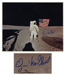 Edgar Mitchell Signed 16 x 20 Photo Showing Him on the Moon During Apollo 14