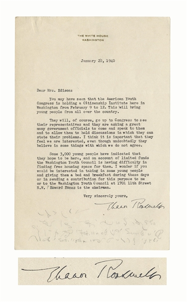 Eleanor Roosevelt Letter Signed as First Lady -- Roosevelt Tries to Help Students From the American Youth Congress
