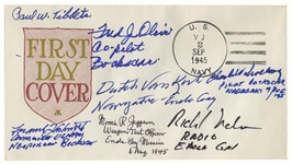 Enola Gay & Bocks Car First Day Cover Signed by 7 of the Crew Members