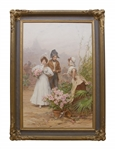 19th Century Artist, Frederik Hendrik Kaemmerer Painting Entitled The Flower Seller
