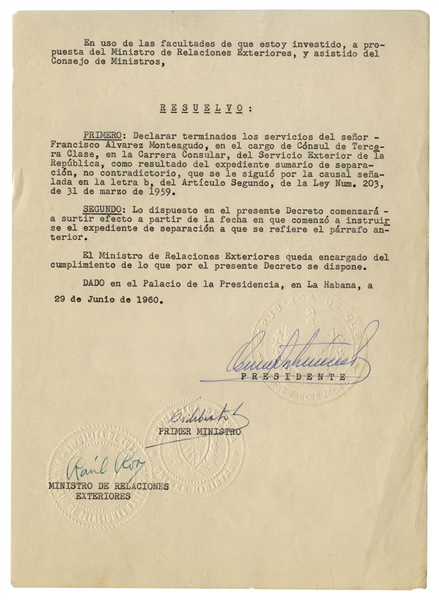 Fidel Castro Document Signed as Prime Minister From 1960 -- Castro Confirms the Separation of a Consul