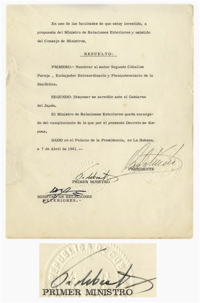 Fidel Castro Document Signed as Prime Minister From 1961 -- Cuba Appoints an Ambassador to Japan