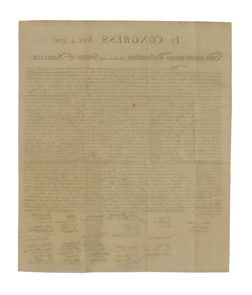 1833 Force Declaration of Independence From Original Copper Plate -- Near Fine Condition