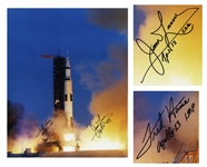 Apollo 13 Astronauts Fred Haise and Jim Lovell Signed 16 x 20 Photo of the Apollo 13 Launch