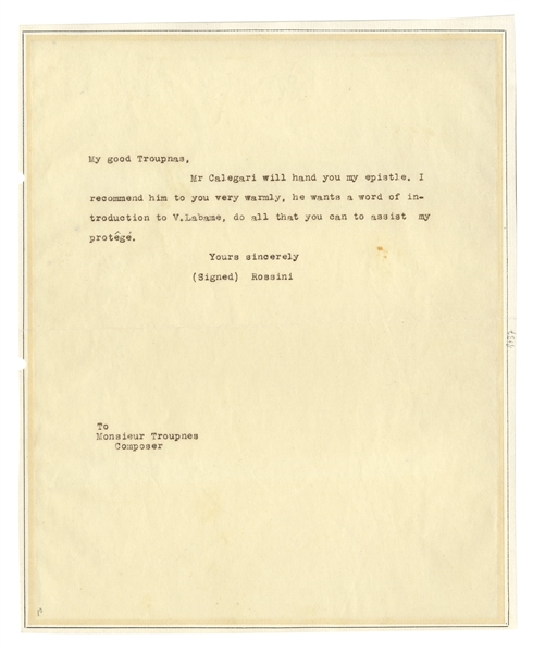 Gioachino Rossini Autograph Letter Signed -- ''...do all that you can to assist my protege...''
