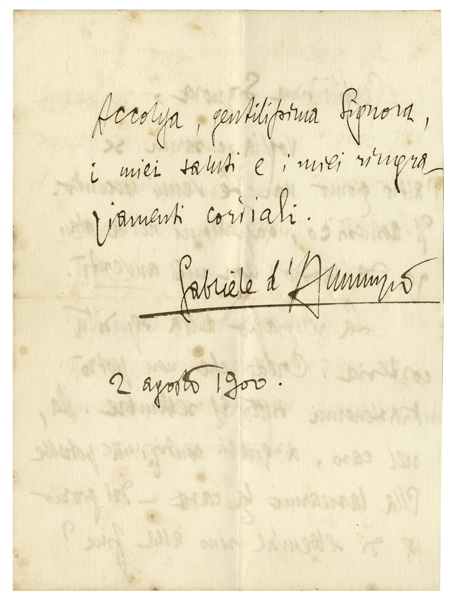 Gabriele D'Annunzio Autograph Letter Signed From 1900
