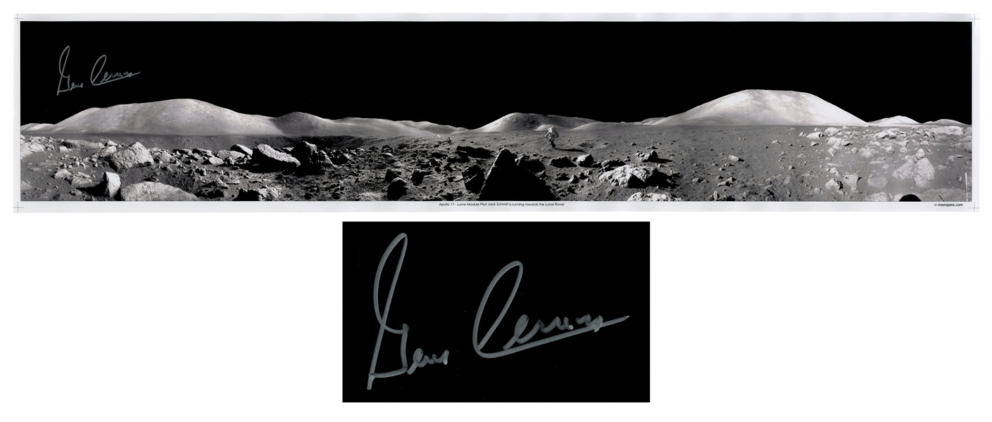 Gene Cernan Signed 40'' Panoramic Photo of the Lunar Surface