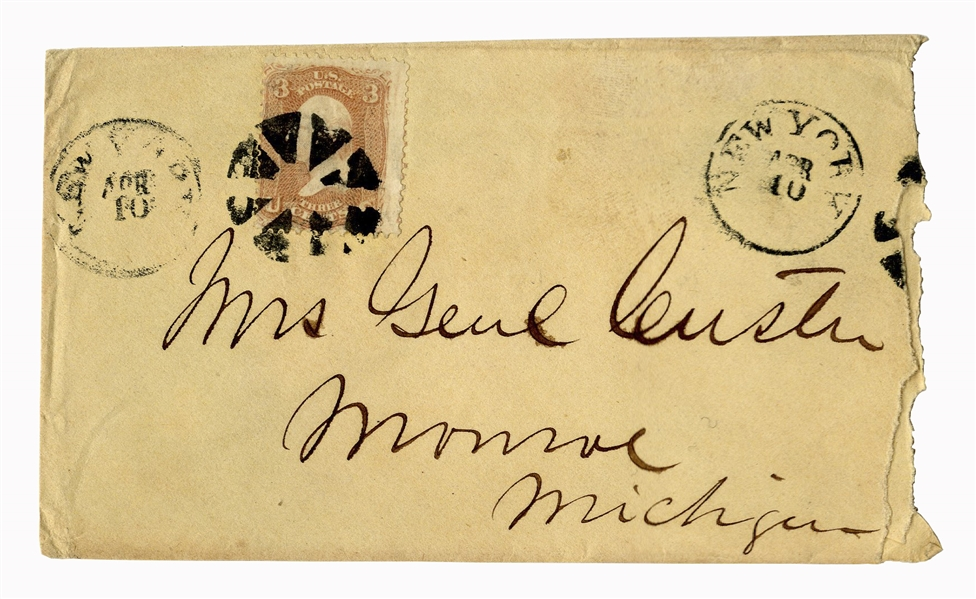 George Custer Envelope Made Out in His Hand to his Wife -- ''Mrs. Genl Custer''