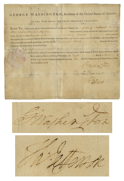 George Washington Document Signed as President, Also Signed by Thomas Jefferson as Secretary of State