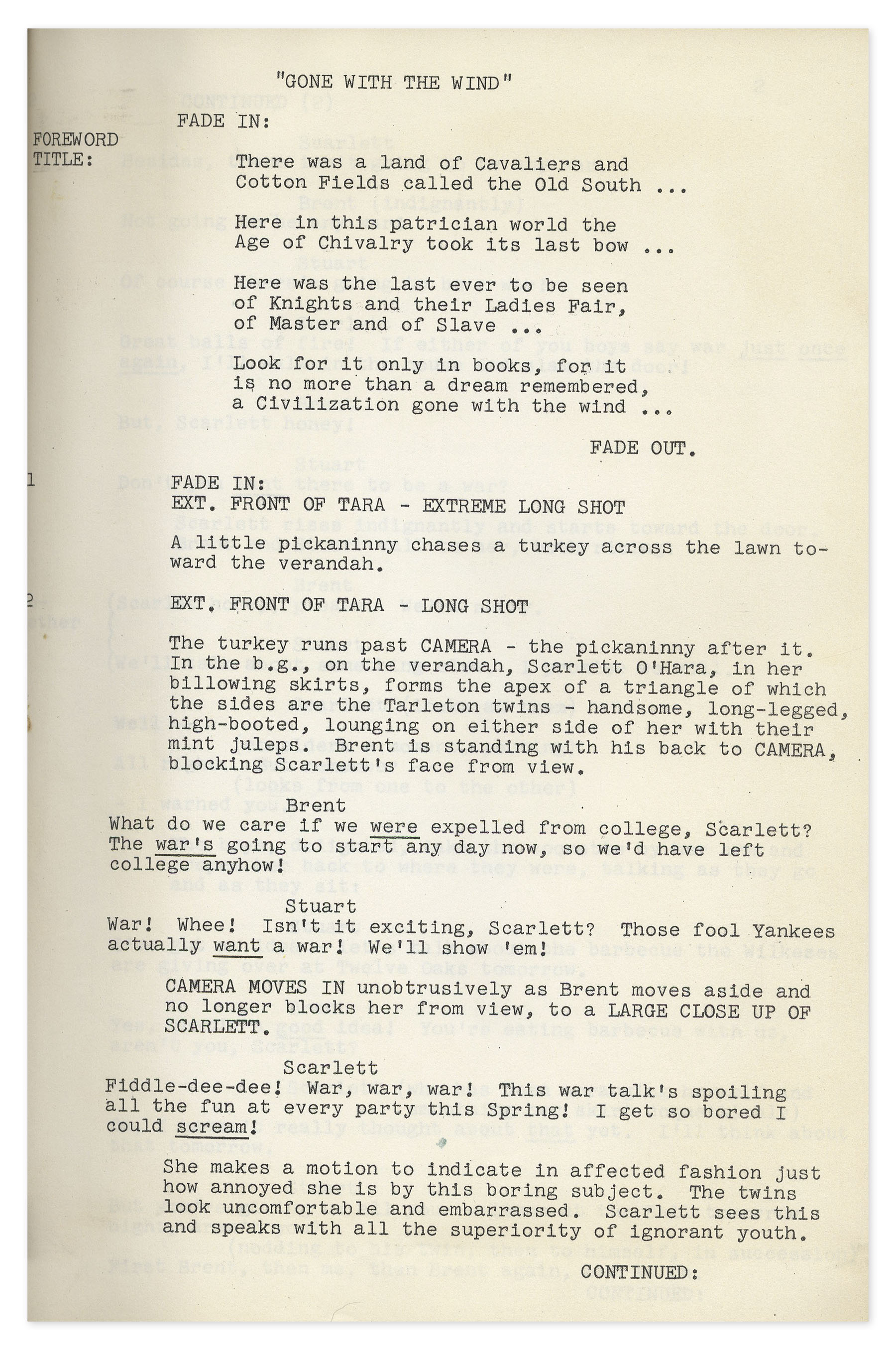 Lot Detail Gone With The Wind Final Shooting Script Bound