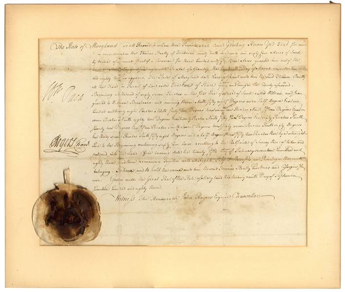 Declaration of Independence Signer, William Paca Document Signed -- Countersigned by John Rogers -- With University Archives COA