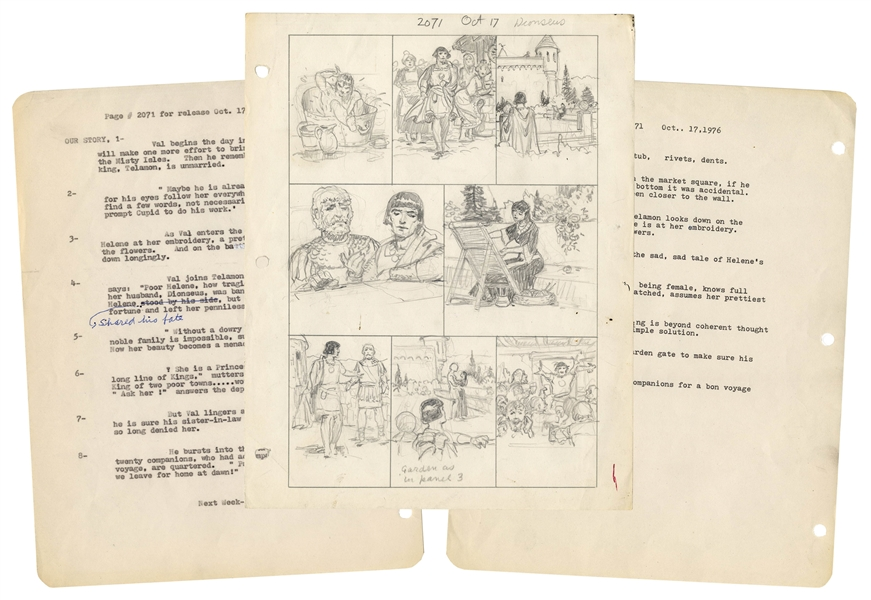 Hal Foster Sketch of the ''Prince Valiant'' Strip From 17 October 1976 -- Also Includes the Script & Detailed Description for Each Panel