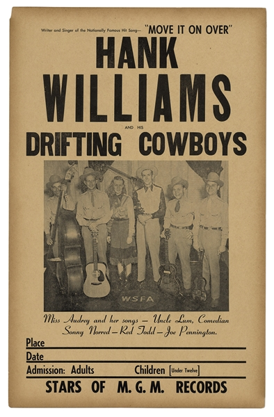 Extremely Rare Concert Poster for ''Hank Williams and his Drifting Cowboys'' From 1949