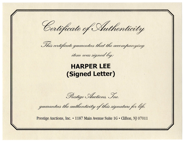 Fantastic Harper Lee Autograph Letter Signed -- ''...The title, by the way, is not 'How to Kill a Mockingbird'...''