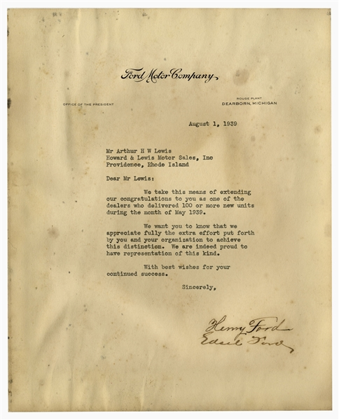 Henry and Edsel Ford Typed Letter Signed -- The Fords Congratulate One of Their Dealers Who Sold 100+ New Cars in May 1939