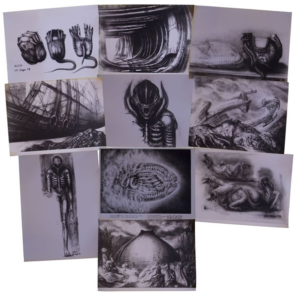 H.R. Giger ''Alien'' Artwork -- Set of 10 Photos of the Alien Creature, Space Jockey, the Derelict Spaceship