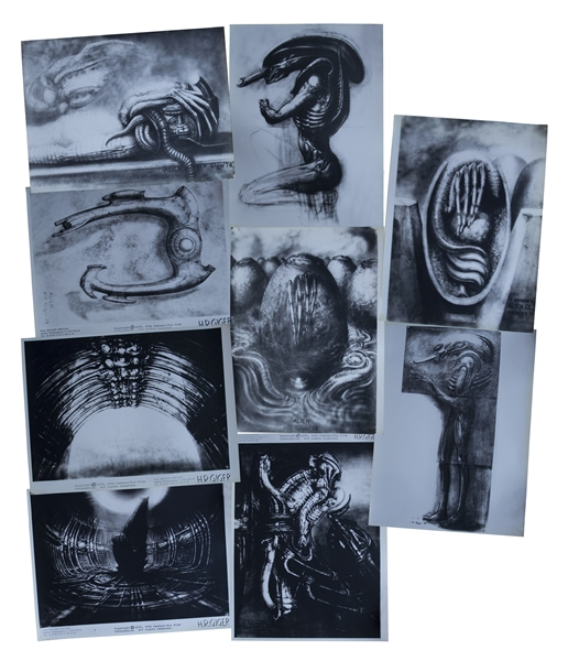H.R. Giger ''Alien'' Artwork -- Set of 9 Photos of the Alien Creature, Space Jockey