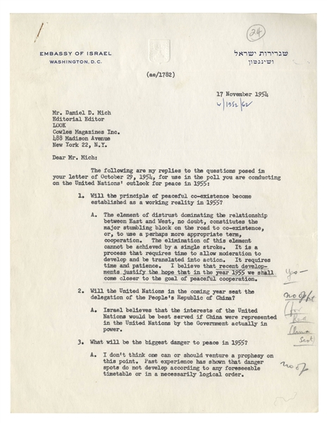 Israeli Ambassador Abba Eban 1954 Letter Signed With Fantastic Content on Global Tensions & World Peace -- ''...The element of mistrust dominating the relationship between East and West...''