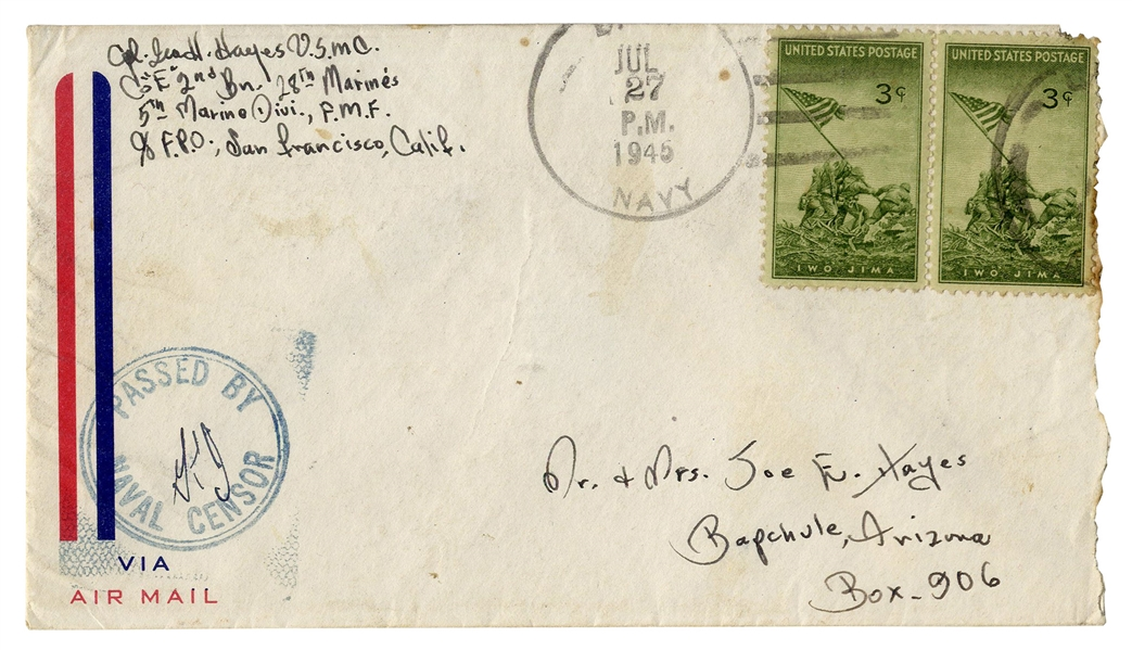 Iwo Jima Flag Raiser, Ira Hayes Envelope Signed in July 1945, With Two Iwo Jima Stamps