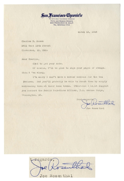 Iwo Jima Photographer Joe Rosenthal Letter Signed From 1946