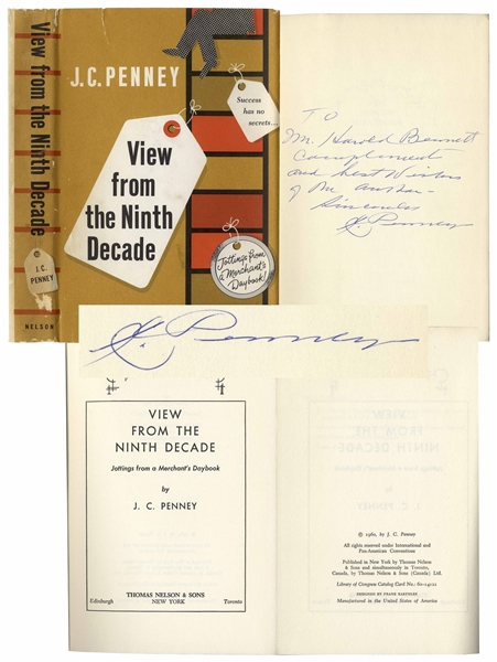 J.C. Penney Signed Autobiography -- ''View from the Ninth Decade'' -- ''Success has no secrets...''