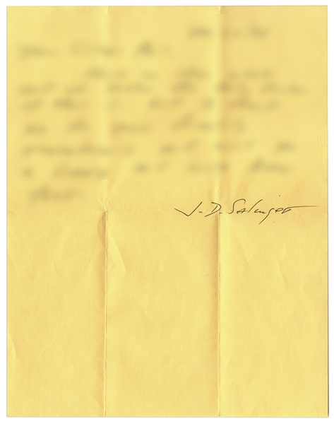 Lot of Three Letters Signed by J.D. Salinger From the 1970s, With Interesting Content on Priests, Zealots, Religiosity & Even Carl Jung -- ''...all are connected, and rumored, even to be One...''