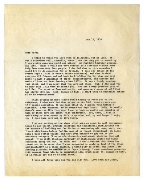 J.D. Salinger Letter Signed From 1970 -- ''...the mind having all the strings and padlocks it has...''