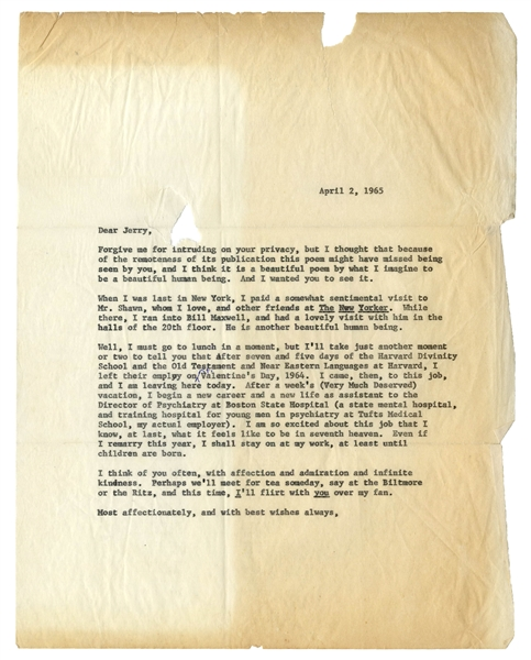 J.D. Salinger Letter Signed -- ''...considering what you told me on the phone about emotional involvement, it's probably better we didn't get any more idiosyncratic notions...''
