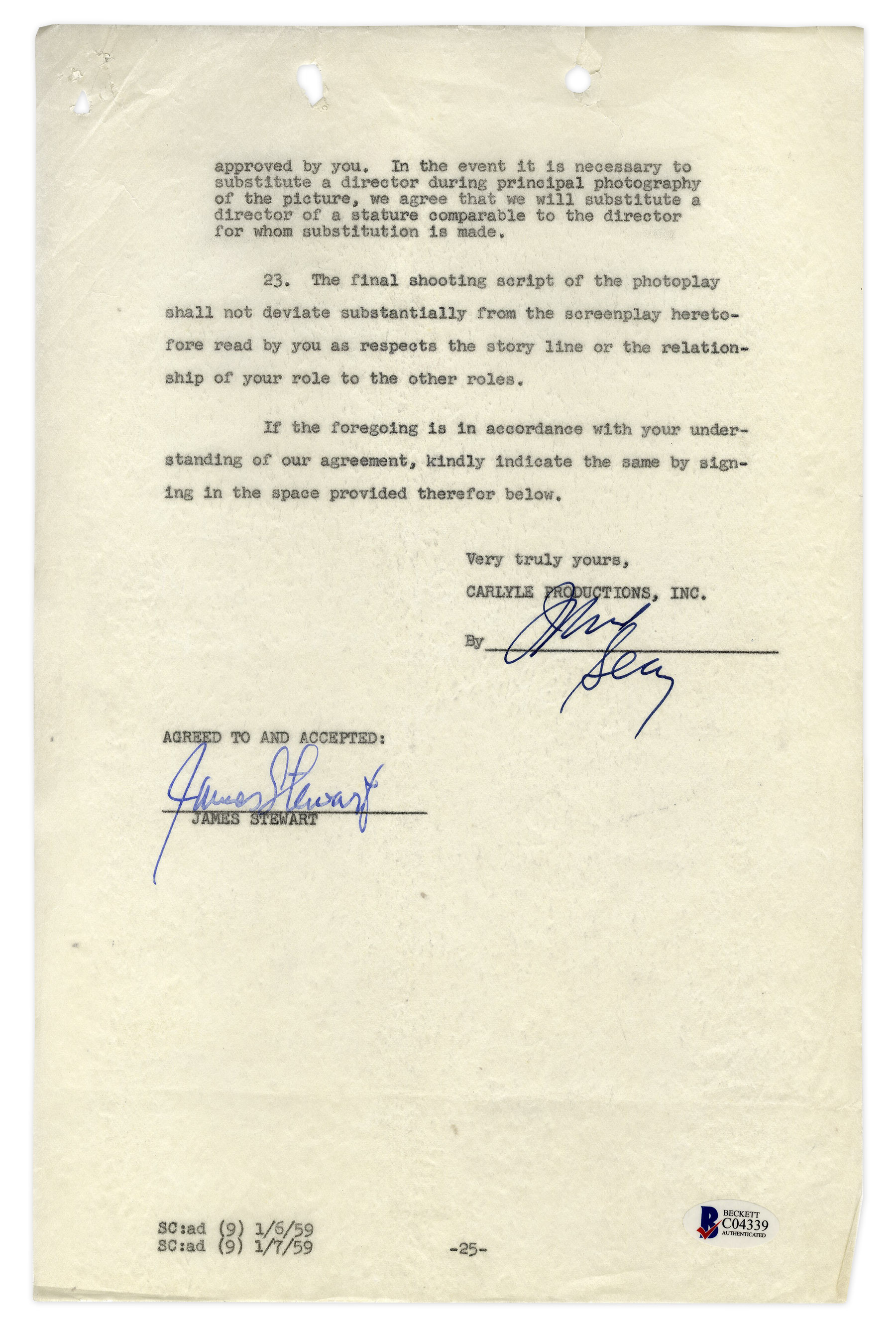 Lot Detail James Stewart Contract Signed For Anatomy Of A Murder