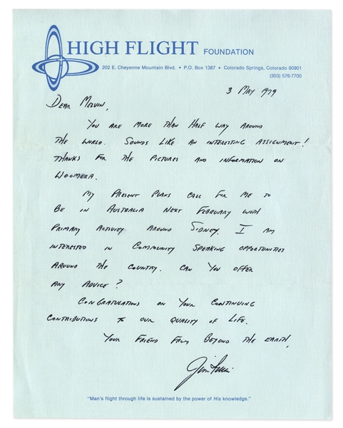 Jim Irwin Autograph Letter Signed From High Flight Foundation -- ''...Your friend from beyond the Earth...''