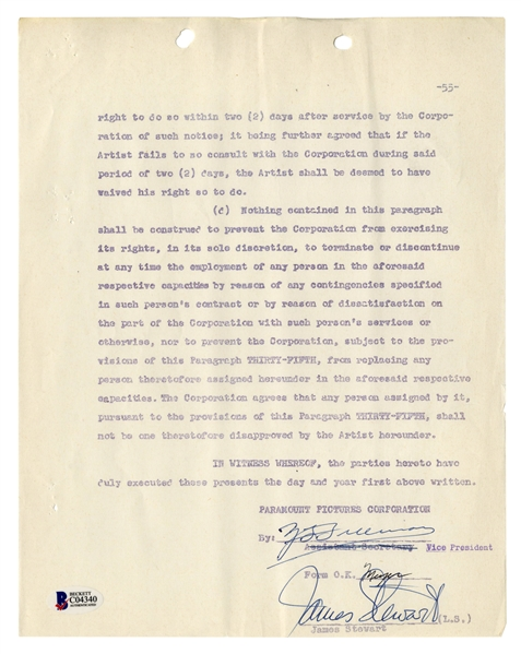 James Stewart Signed Contract for ''Strategic Air Command'' -- With Beckett COA