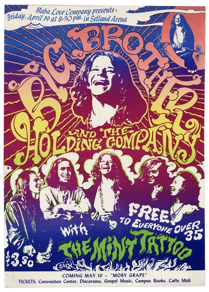 One of the Rarest of 1960s Rock Posters -- Janis Joplin & Big Brother and the Holding Company Poster From April 1968 -- Featured in ''Art of Rock''