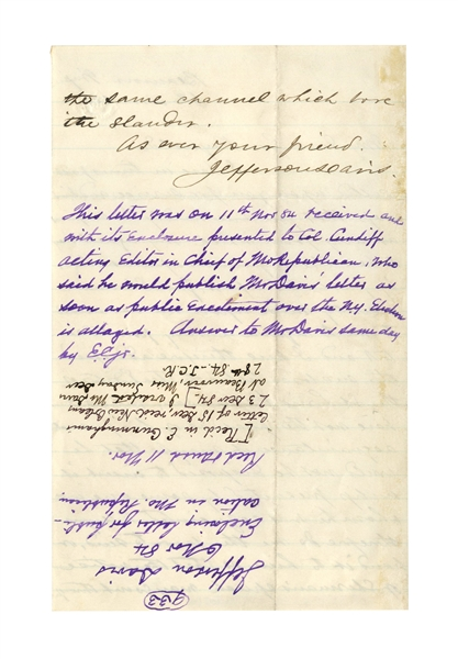 Jefferson Davis Autograph Letter Signed in Response to General William Sherman Calling Him a Conspirator -- ''...Sherman's speech...which bore the slander...''