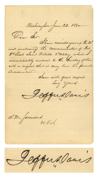 Jefferson Davis Letter Signed as Mississippi Senator in 1860, Shortly Before the Election of Abraham Lincoln That Precipitated Civil War