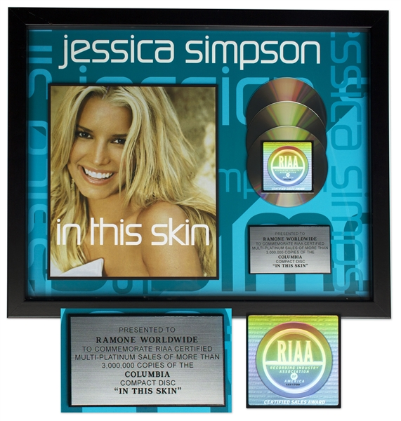 Jessica Simpson RIAA Platinum Award for ''In This Skin''